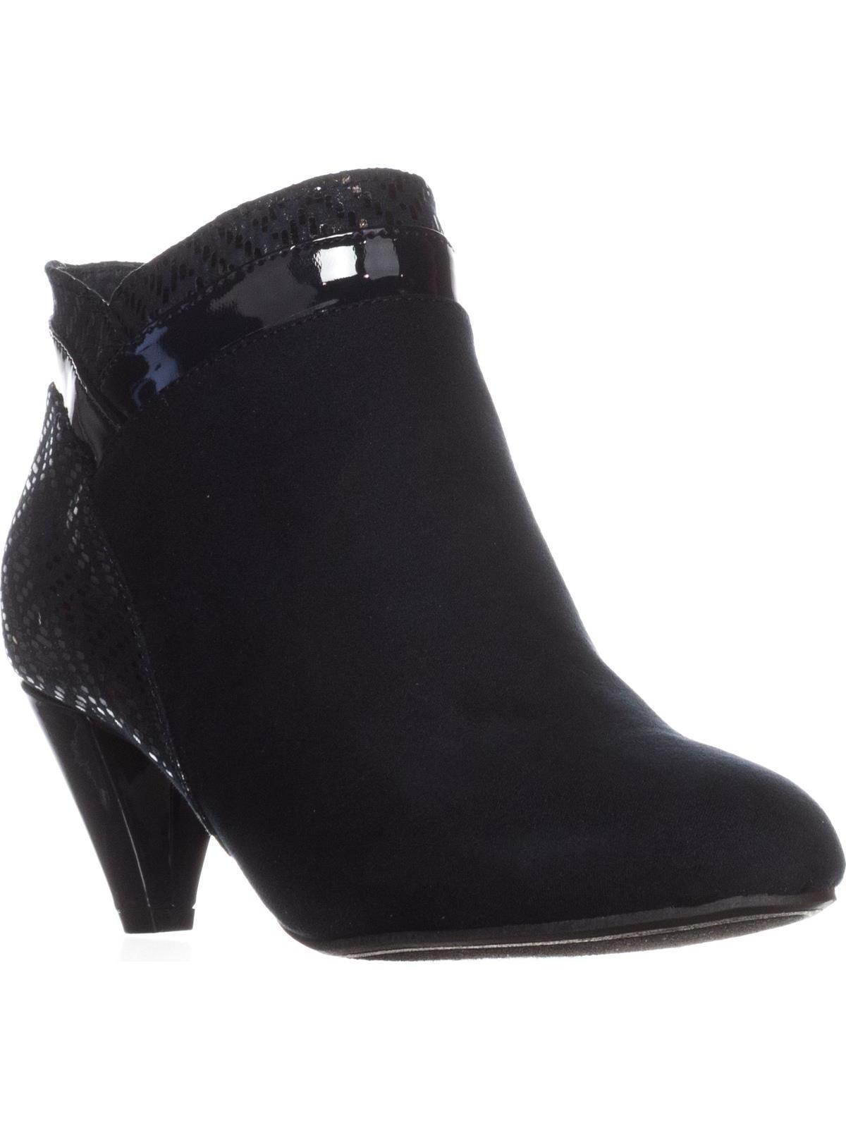 Womens KS35 Cahleb Dress Almond-Toe Ankle Booties, Navy