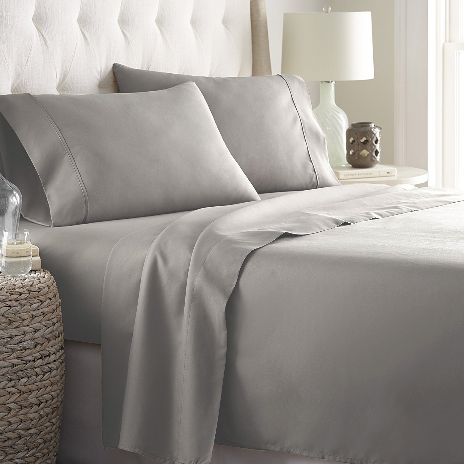 100/% Cotton 300 Thread Count Elegance and Durability Light Gray Sateen Sheet Set