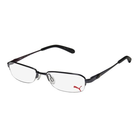 New Puma 15364 Giga Mens/Womens Designer Half-Rim Black / Plum Adult Size Casual Vision Care Frame Demo Lenses 47-16-135 Spring Hinges (Spectacle Frame Sizes)