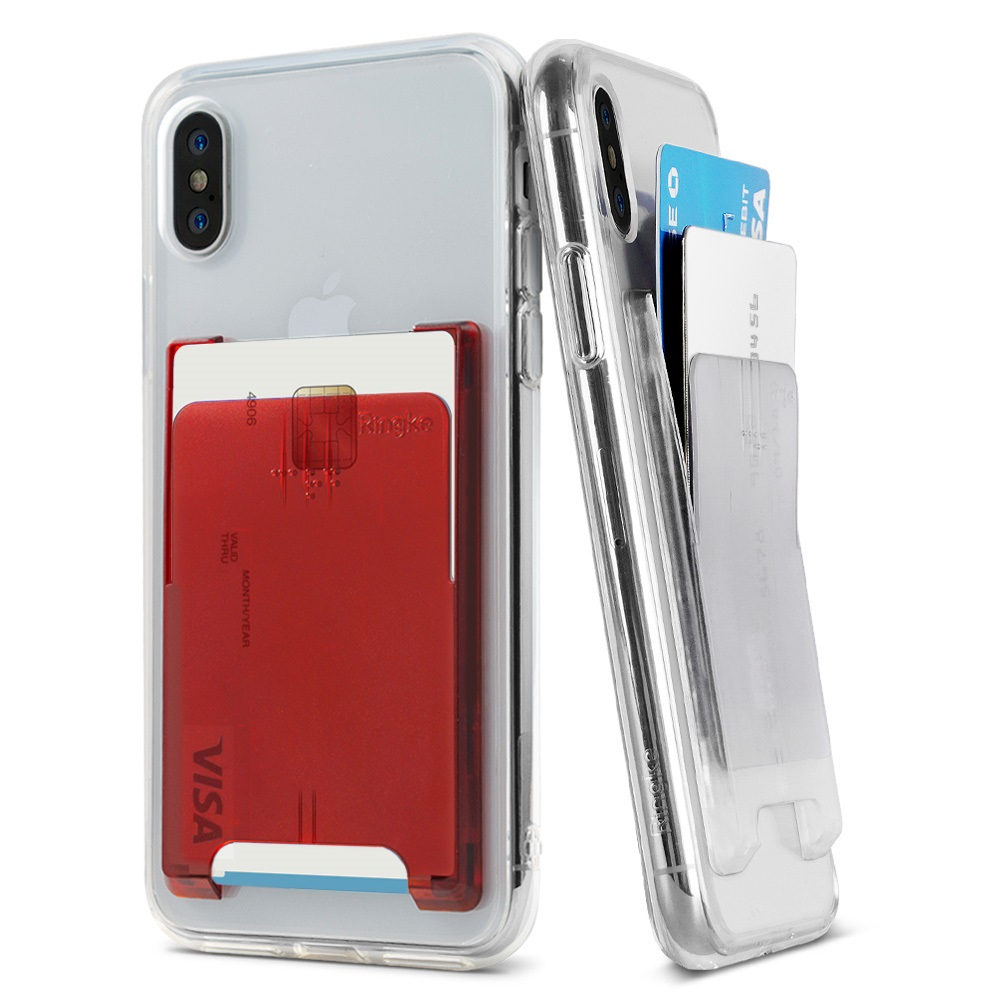Ringke Slot Card Holder [Jewel Series] [Turquoise Blue] Minimalist Slim Hard PC Transparent Mini Clip ID Adhesive 3M Stick On Credit Card Accessory Attachment for iPhone, Galaxy, LG, Google