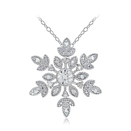 Sterling Silver Diamond Accent Snowflake Necklace - Snowflake Necklace Tiffany