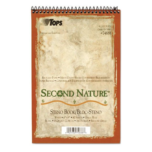 Second Nature Spiral Reporter/steno Book, Gregg, 6 X 9, White, 80 Sheets