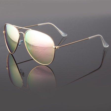 New Retro Aviator Sunglasses Vintage Multi Color Men Women Fashion Frame (Pink Lens Glasses)