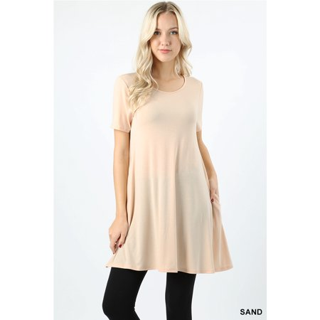 Women Short Sleeve Round Neck Long Tunic Top with Side Pockets