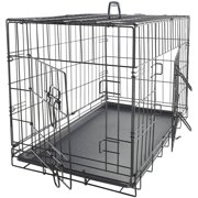"OxGord 48"" Heavy Duty Foldable Double Door Dog Crate with Divider and Removable ABS Plastic Tray, 48"