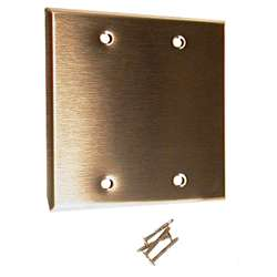Leviton 84025 2-Gang No Device Blank Wallplate, Standard Size, Box Mount, Stainless Steel