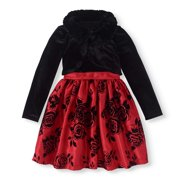 Girls' Floral Shantung Dress with Faux Fur Trim Velvet Shrug