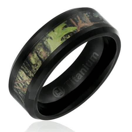 Mens Wedding Band in Titanium 8MM Black Plated Camo Ring with Camouflage Inlay](Orange Camo Wedding Rings)