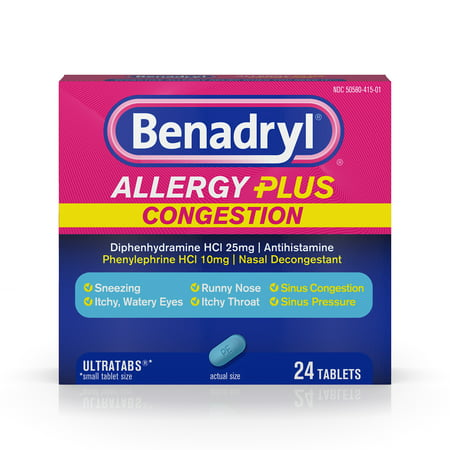 (2 pack) Benadryl Allergy Plus Congestion Ultratabs, Nasal Congestion Relief, Allergy Tablets, 24