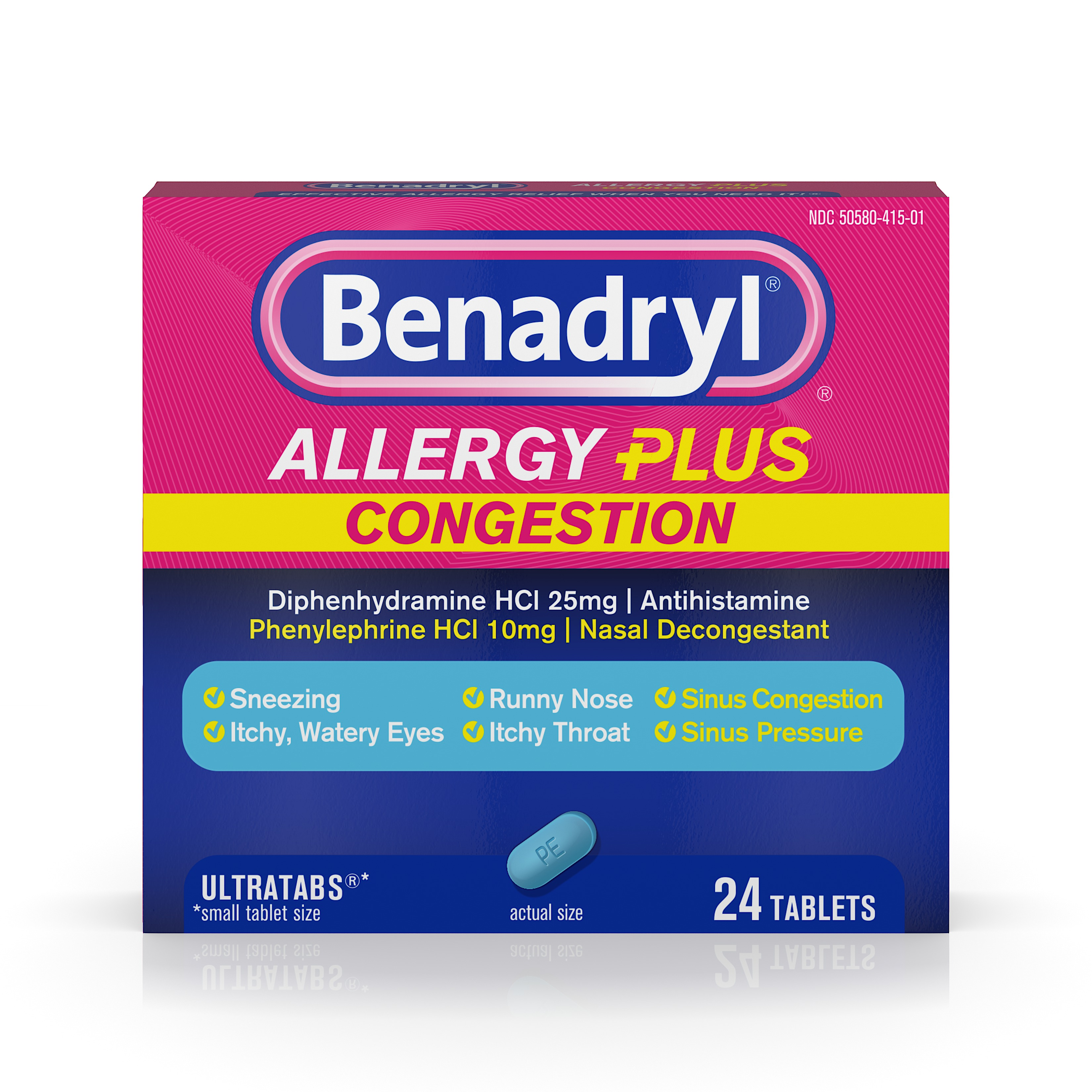 Benadryl Allergy Plus Congestion Ultratabs, Nasal Congestion Relief, Allergy Tablets, 24 Ct
