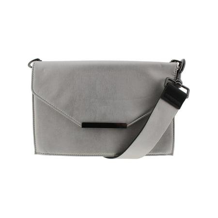 INC Womens Yvonn Metallic Faux Leather Crossbody Handbag Silver Medium
