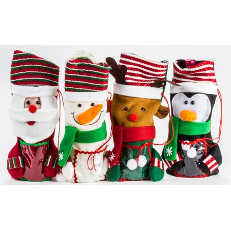 4 Piece Christmas Wine Gift Bag Set - Christmas Wine Bags