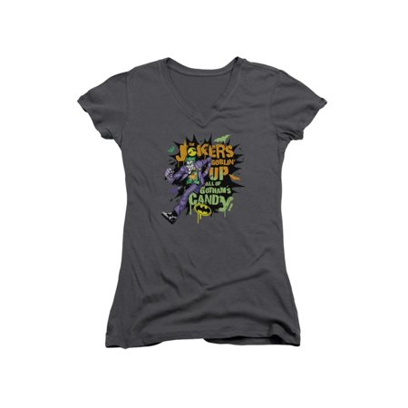 Batman DC Comics Joker Goblin Candy Halloween Juniors V-Neck T-Shirt Tee - Batman Halloween Comic
