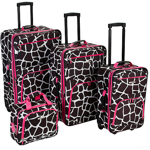 Rockland 4pc Expandable Luggage Set - Pink Giraffe