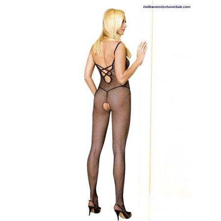 Lace Ruffle Bodystocking - Leg Avenue Women's Plus Size V Back Finished Bodystocking With Lace Up, Black, One Size