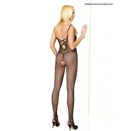 Leg Avenue Women's Plus Size V Back Finished Bodystocking With Lace Up, Black, One Size - Bodystocking Lace