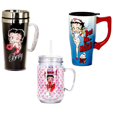 ee519ed2d375a5 Novelty Drinkware Spoontiques Betty Boop All This and Brains Too 16oz  Plastic Mason Jar and Spoontiques Betty Boop 16oz Hot Insulated Travel Mug  ...
