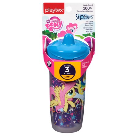 Playtex My Little Pony Stage 3, 12M+, Sipsters Insulated Spill Proof Spout Cup, 9 Oz (Colors May Vary) + Makeup Blender Stick, 12 Pcs