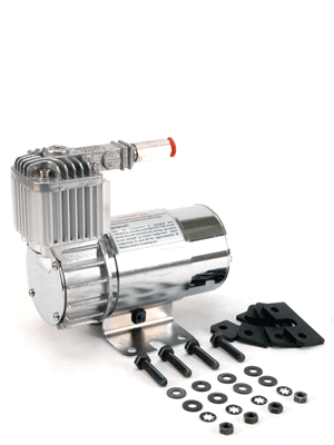 100C Chrome Compressor Kit w  Omega Mounting Bracket (12V, 15% Duty, Sealed) by VIAIR