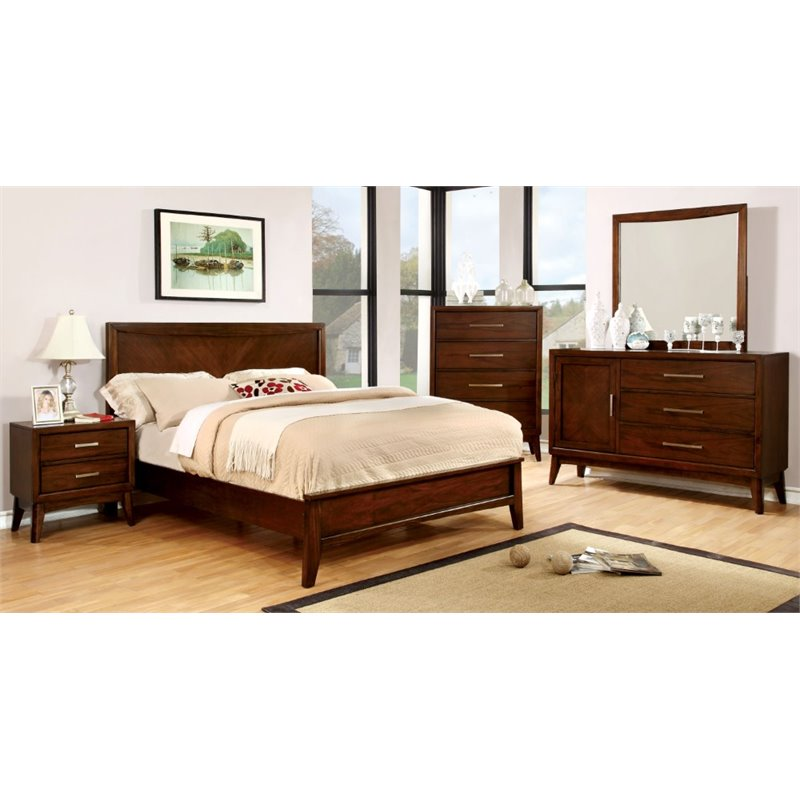 Furniture of America Bryant 4 Piece King Bedroom Set in Brown Cherry