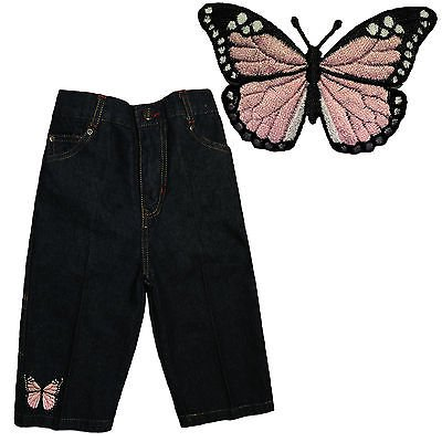Pink Butterfly Infant Baby Girl Toddler Indigo Denim Jeans Sz: S M L - Toddler Robin Jeans