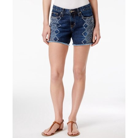 6daab1576c7 Big Star NEW Blue Women Size 30 Mid-Rise Printed Frayed-Hem Denim Shorts -  Walmart.com