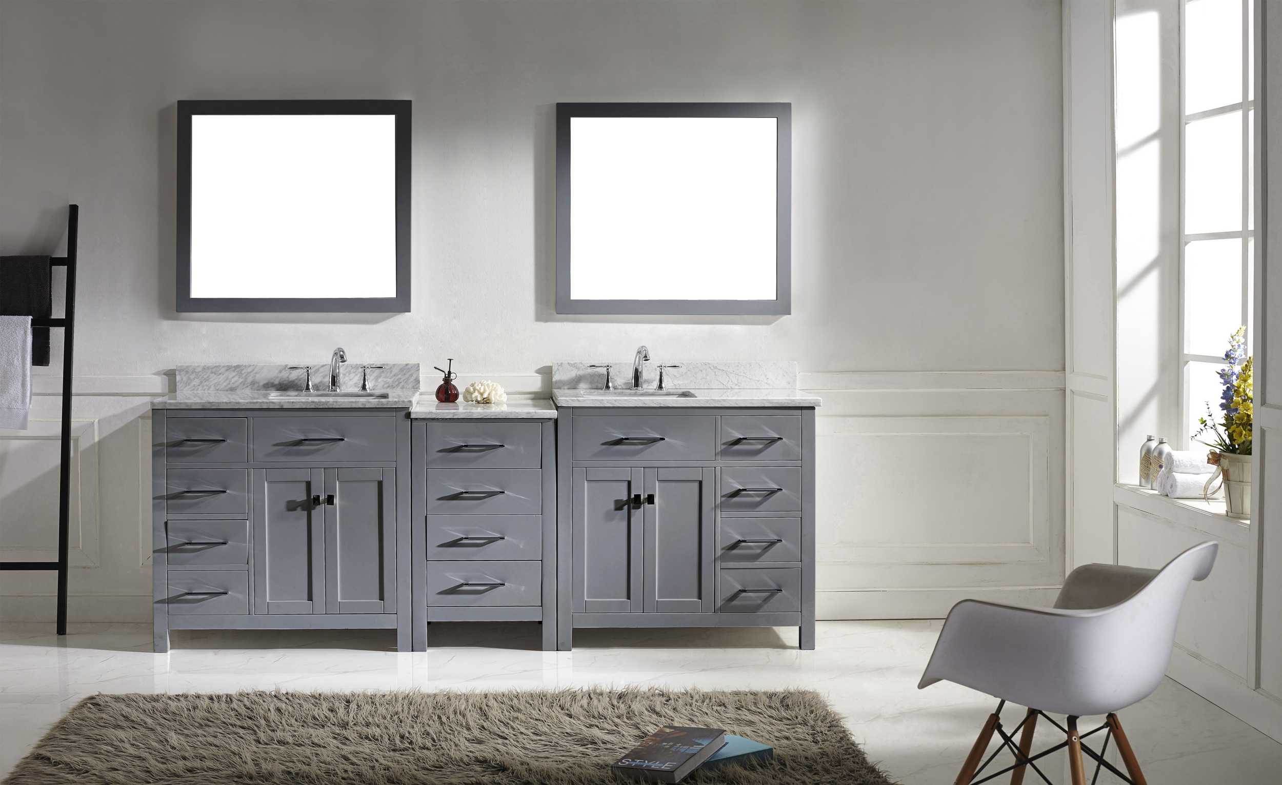 Virtu USA MD-2193-WMSQ-GR-002 93 in  Caroline Parkway Grey Double Square  Sink White Marble Top Bathroom Vanity with Polished Chrome Faucet & Grey