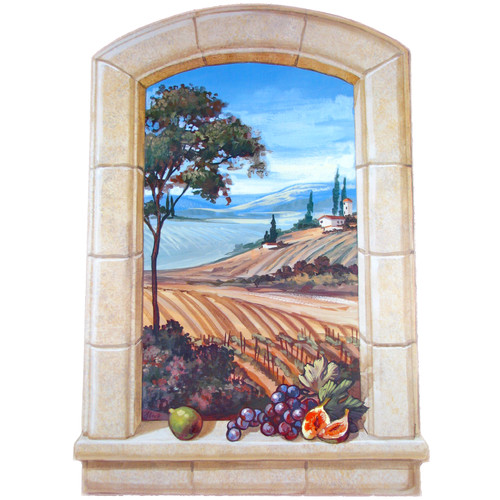 Stupell Industries The Vineyard Faux Window Scene Original Painting Plaque