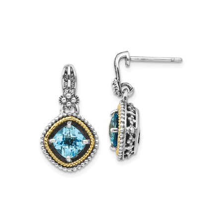 14k Multi Tone Gold Swiss Blue Topaz Earrings 20x12 Mm