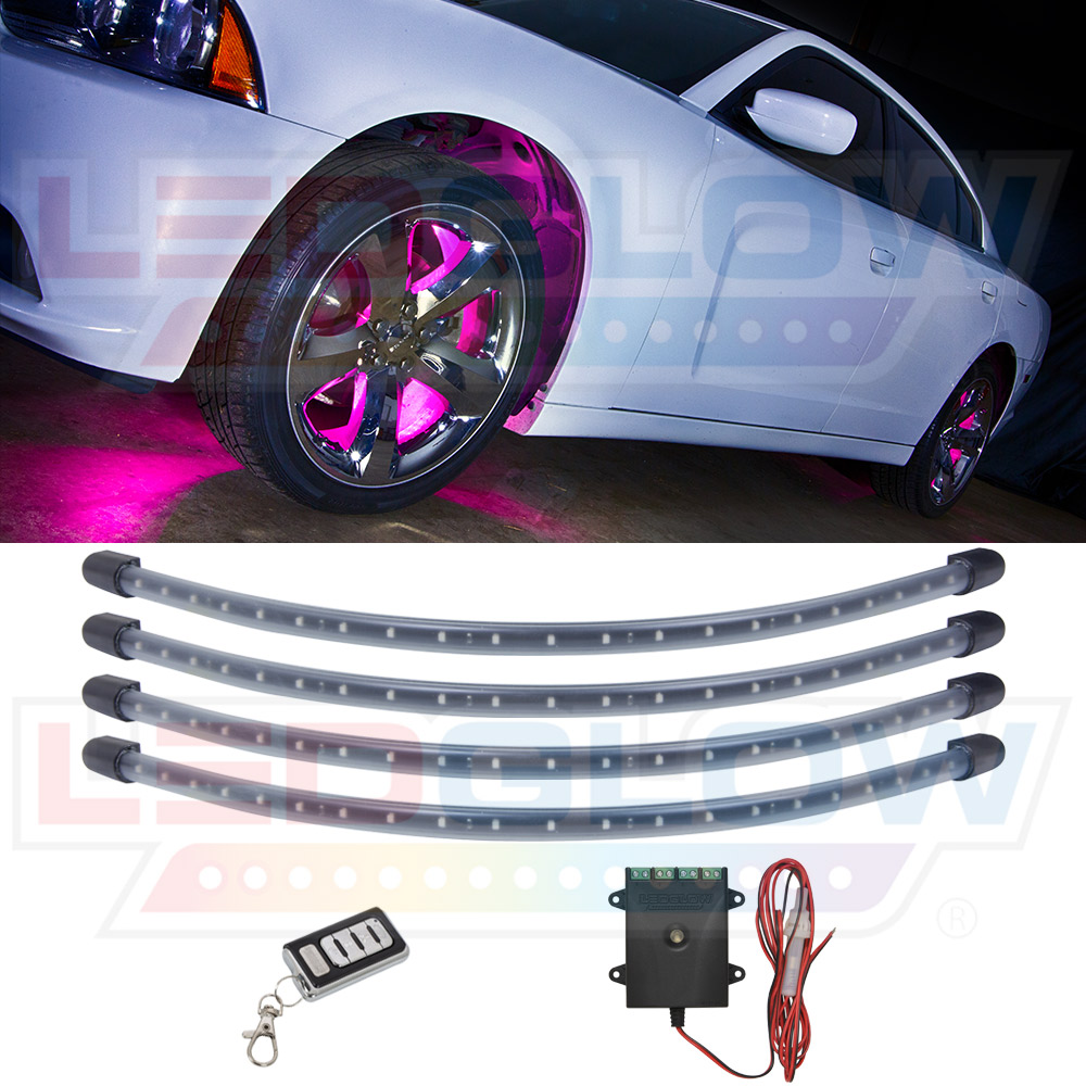 LEDGlow 4pc Pink LED Wheel Well Lighting Kit