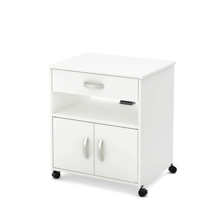 South Shore Smart Basics Microwave Cart on Wheels, Multiple Finishes