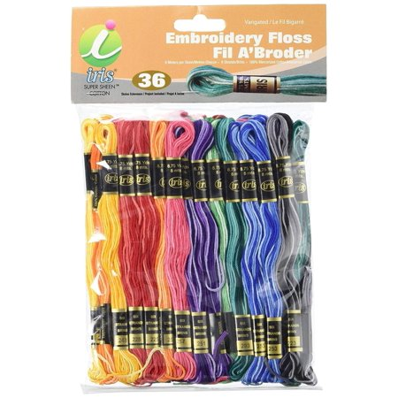 Variegated Embroidery - Iris 36-Pack Embroidery Floss Pack, 8m, Variegated Colors, 100-percent cotton floss By IRIS USA Inc