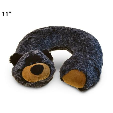 Super-Soft Plush Neck Pillow - Black -