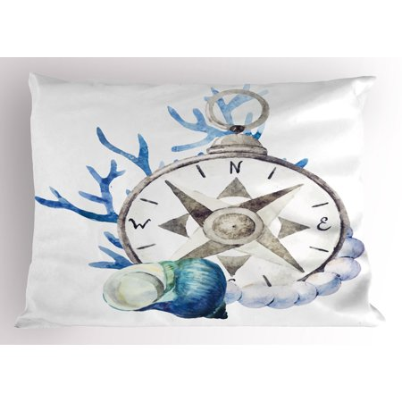 Shells Standard Sham (Compass Pillow Sham Watercolor Marine Life Theme Seashell Compass Voyaging Vibrant Color Print, Decorative Standard King Size Printed Pillowcase, 36 X 20 Inches, Navy Blue Eggshell, by Ambesonne)
