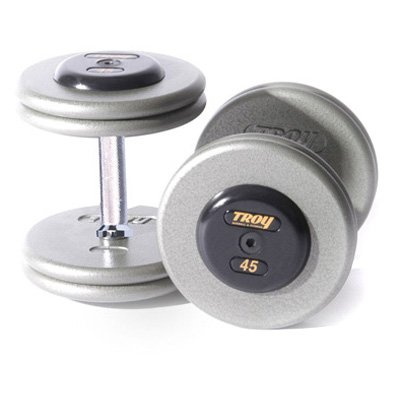 Troy Barbell Fixed Pro Style Dumbbells - Straight Handle with Rubber End Cap