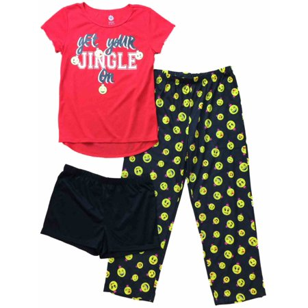 On Emoji (Girls Red & Black Emoji & Christmas Pajamas Silly Get Your Jingle On Sleep)