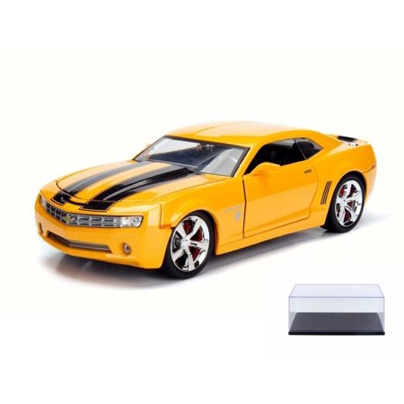 Diecast Car & Display Case Package - 2006 Chevy Camaro Concept Bumblebee, Yellow w/ Black - Jada 99384 - 1/24 Scale Diecast Model Toy Car w/Display -