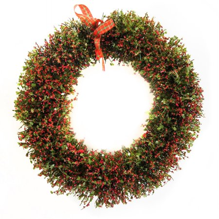 "Image of 16"" Rattan Christmas Wreath with 20 LED Lights"