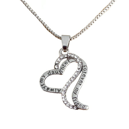 Mother Daughter Love Crystal Heart Best Friend Forever Silverplated Anti-Tarnish Necklace Pendant,