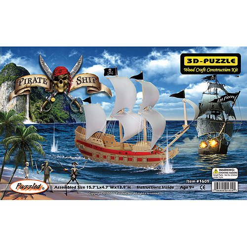 Puzzled 3D Puzzle Wood Craft Construction Kit, Pirate Ship by Puzzled