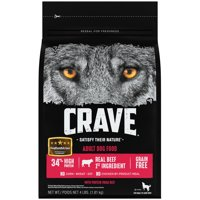 CRAVE Grain Free Adult Dry Dog Food with Protein from Beef, 4 lb. Bag
