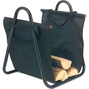 Black Log Holder with Canvas Carrier - 20 inch