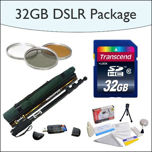 """32GB SDHC DSLR Package Including 32GB SDHC High Speed Memory Card, Opteka 67"""" Professional Monopod,... by Opteka"""