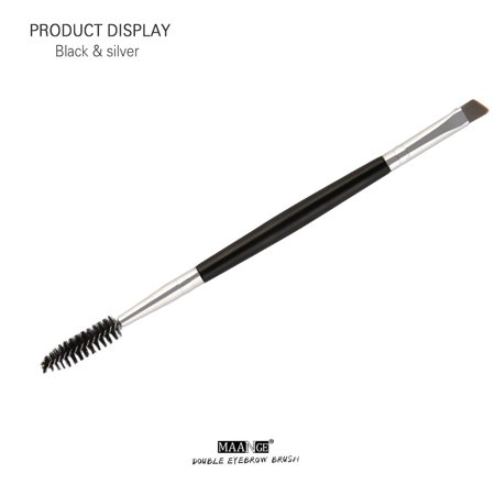 Mosunx Duo Brow Makeup Brush Wood Handle Double Sided Eyebrow Flat Angled Brushes