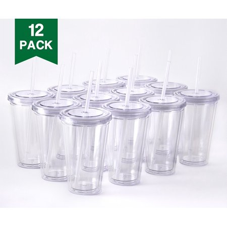 Cupture Classic 12 Insulated Double Wall Tumbler Cup with Lid, Reusable Straw & Hello Name Tags - 16 oz, Bulk Pack (Clear)
