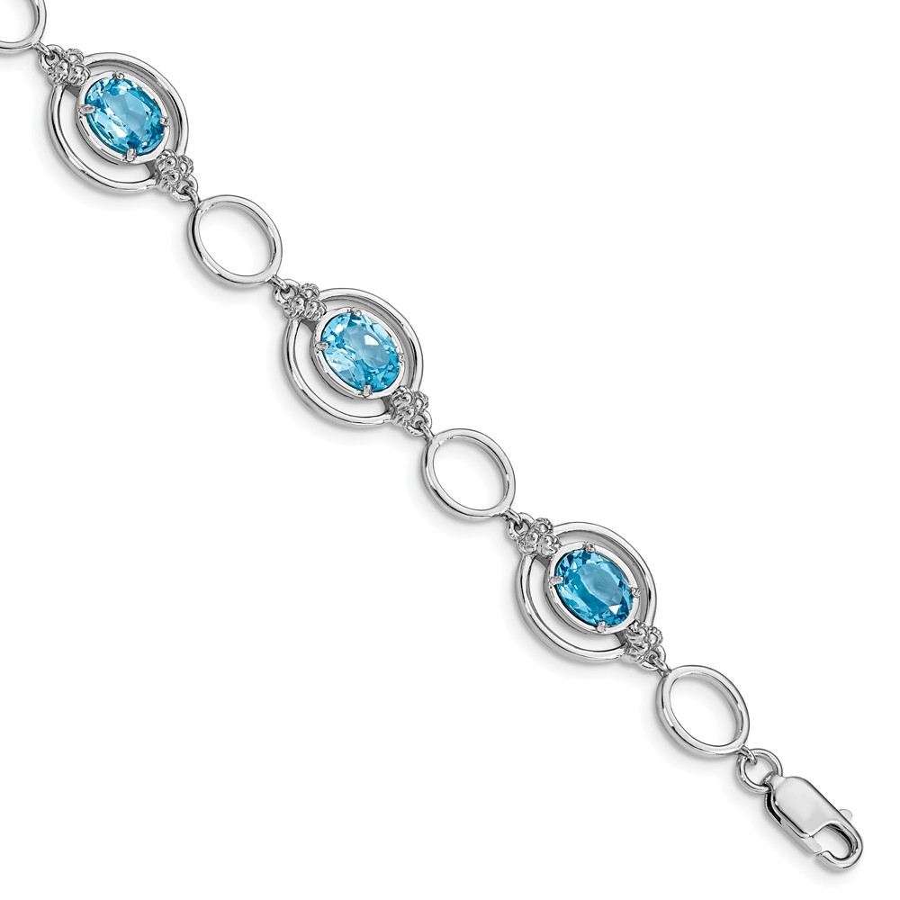 925 Sterling Silver Rhodium plated Blue Topaz Open Link