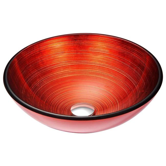 Anzzi LS-AZ057 Echo Series Deco-Glass Vessel Sink in Lustrous Red
