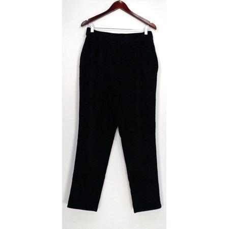 Denim & Co. Pants Sz 10 Regular Slim Leg Wide Wale Corduroy Black A282440