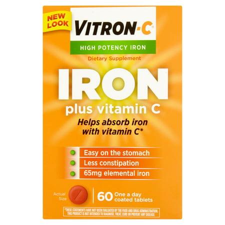 Vitron-C Suractivé Fer Plus Vitamine C comprimés enrobés alimentaires supplément de 60ct