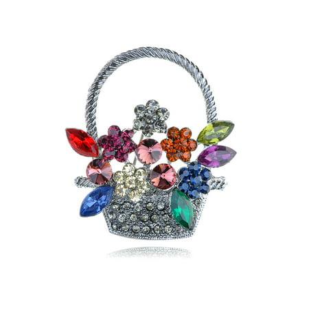 Elegant Colorful Crystal Rhinestone Silver Tone Spring Flower Basket Pin (Tone Crystal Brooch)